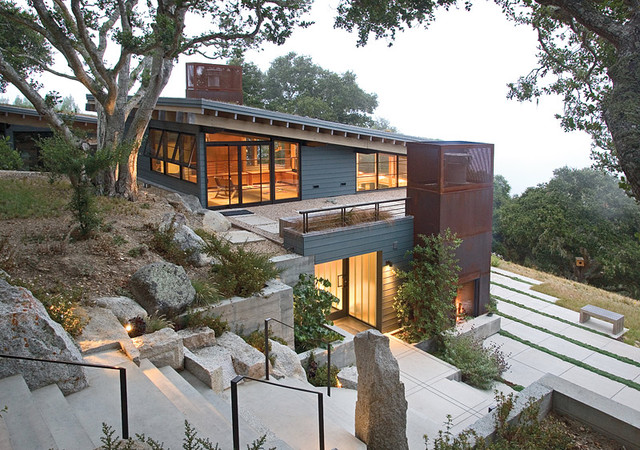 How to Artfully Build a House on a HillsideModern Exterior by Feldman Architecture  Inc