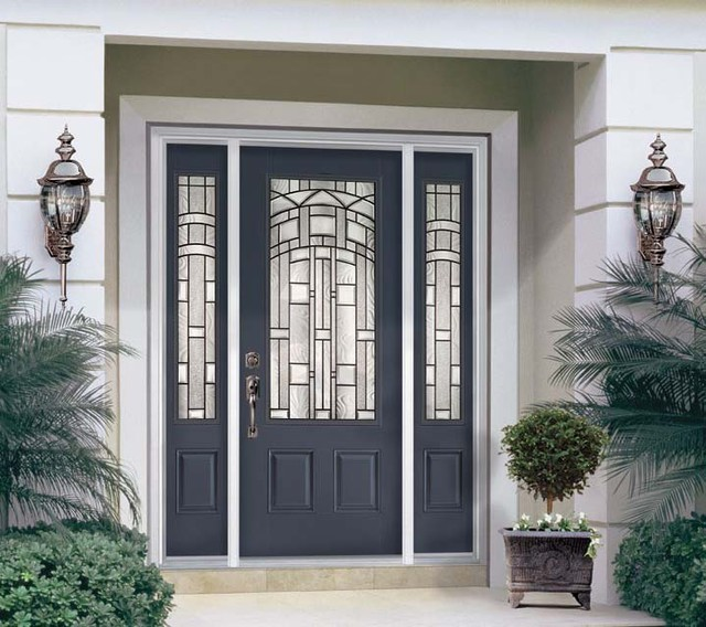 Fiberglass steel doors traditional exterior tampa for Metal entry doors