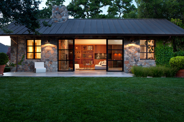 Fieldstone guest cottage contemporary exterior san for Modern homes san francisco