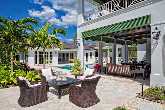 Florida courtyard home tropical exterior other by for Tropical house plans with courtyards