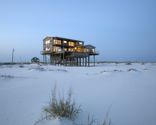 beach style exterior by Habitat Post & Beam, Inc.