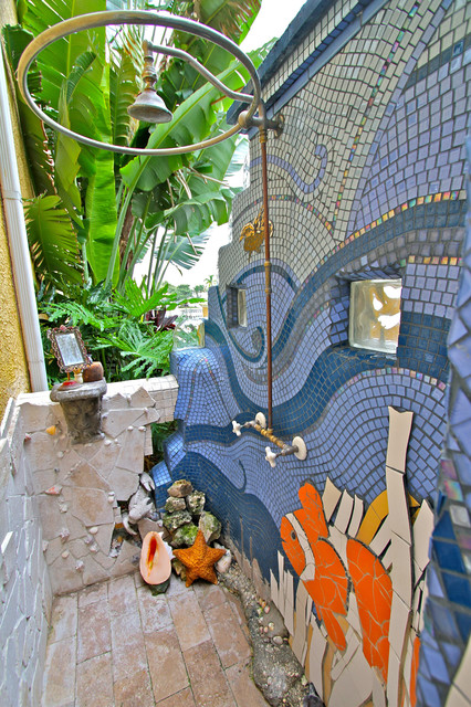 Florida Outdoor Mosaic Shower Mediterranean Exterior
