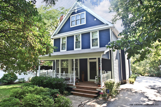 Front Elevation Of Victorian Houses : Folk victorian in blue exterior chicago
