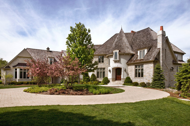Formal French Country Stone And Stucco Estate In Barrington Traditional Exterior Chicago