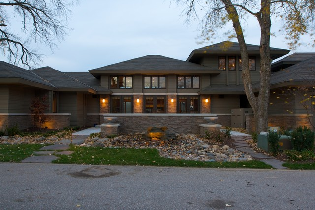 Frank Lloyd Wright Inspired Traditional Exterior