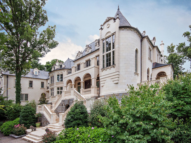 French Chateau Clad in Limestone - Mediterranean ...