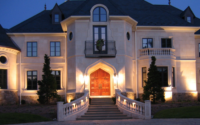 French chateau night entry traditional exterior for French chateau style homes for sale