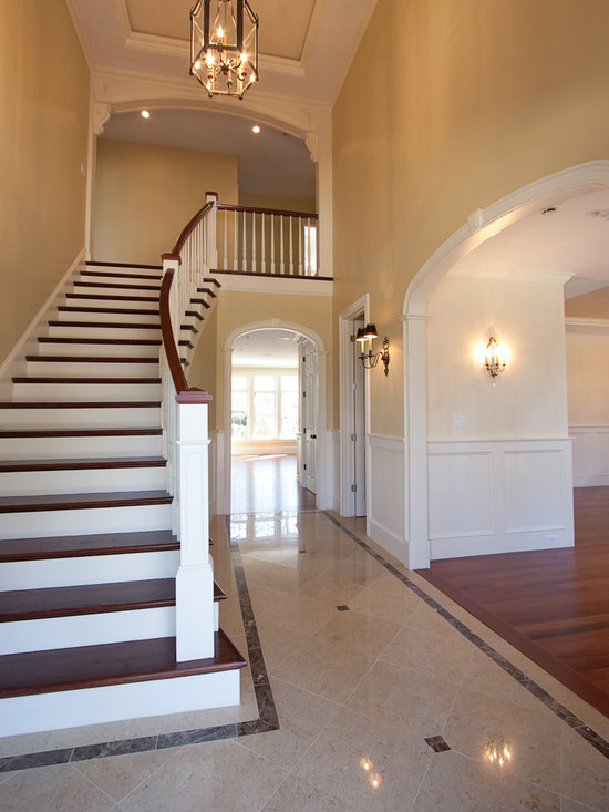 Foyer stairs entry home design ideas pictures remodel for Colonial foyer ideas