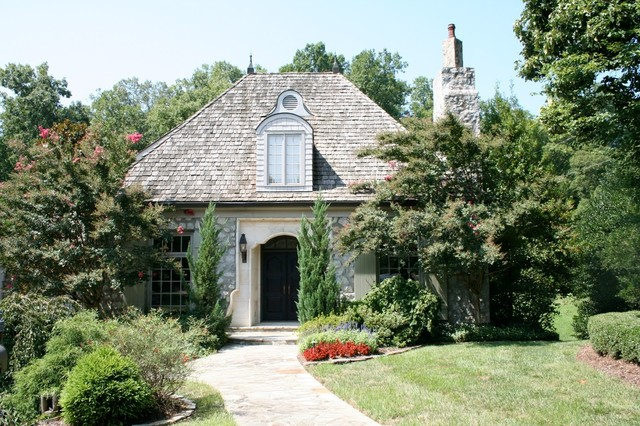 French Cottage With Limestone Entry Traditional