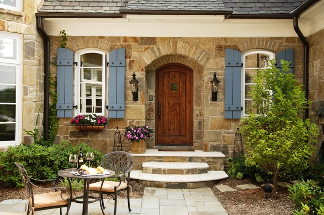 French country home traditional exterior detroit Old world house plans courtyard
