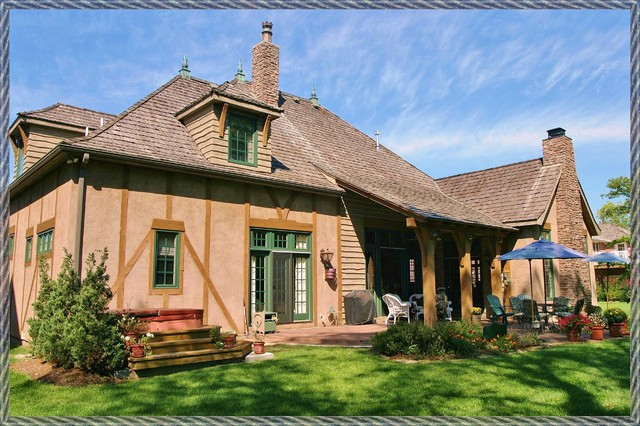 French Country 'Spec' House' rear view traditional-exterior