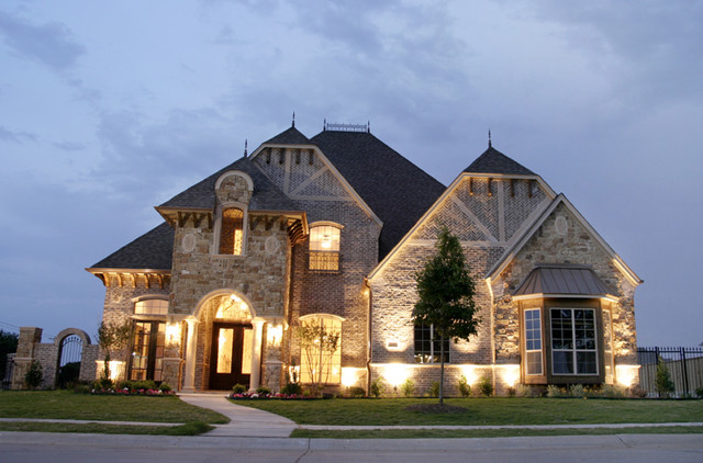 French old world elevation southlake for Old world style house plans