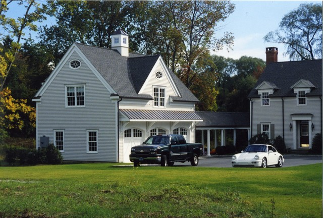 garage addition to colonial home new canaan ct