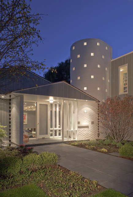 Front Elevation Dusk Modern Exterior Chicago By
