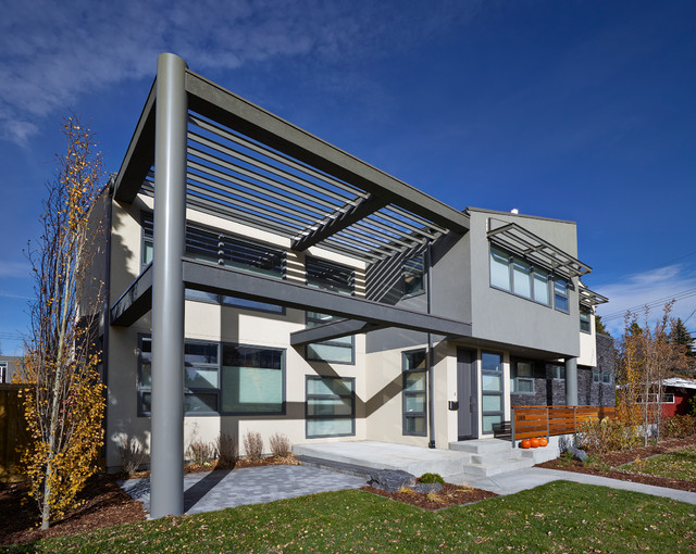Front elevation contemporary exterior edmonton by