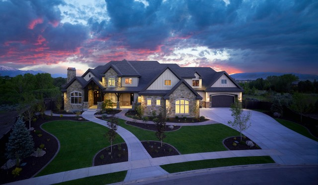 Front elevation traditional exterior salt lake city by joe carrick design custom home Custom home designs