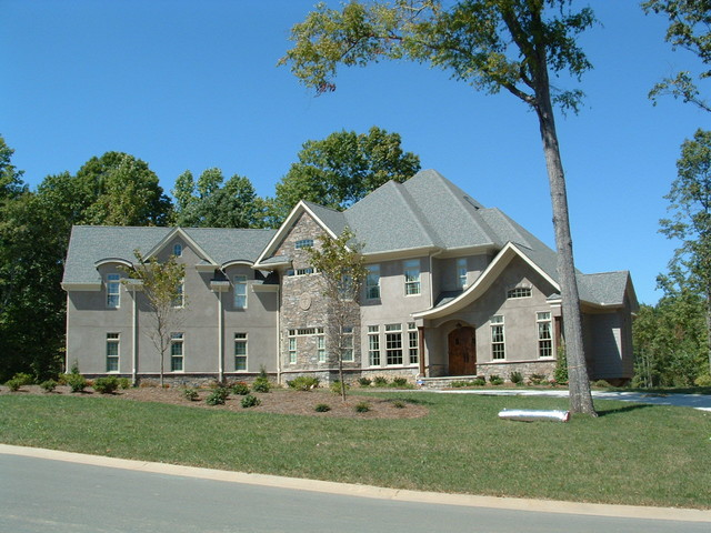 Front Elevation Stone And Stucco Transitional