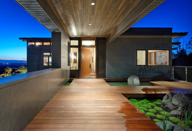 Front Entry At Night Contemporary Exterior Seattle