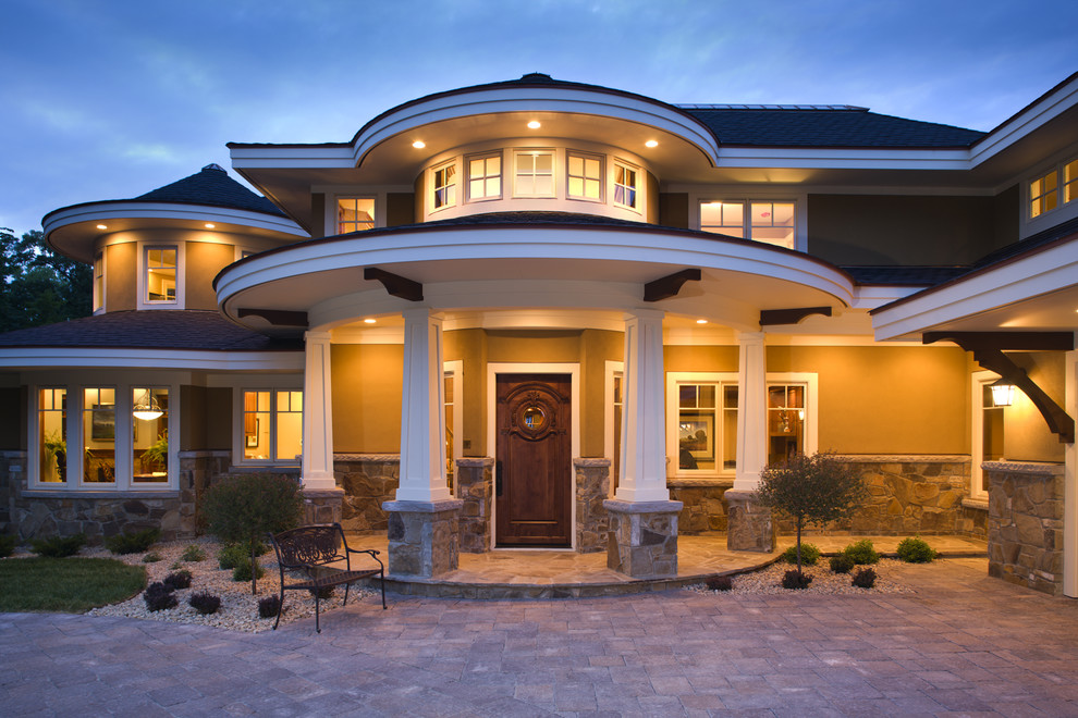 Inspiration for a coastal two-story exterior home remodel in Minneapolis