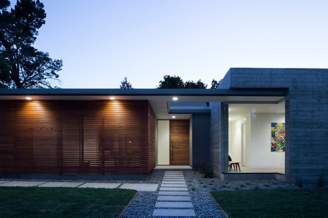 Front facade at night modern exterior san francisco for Modern house facades