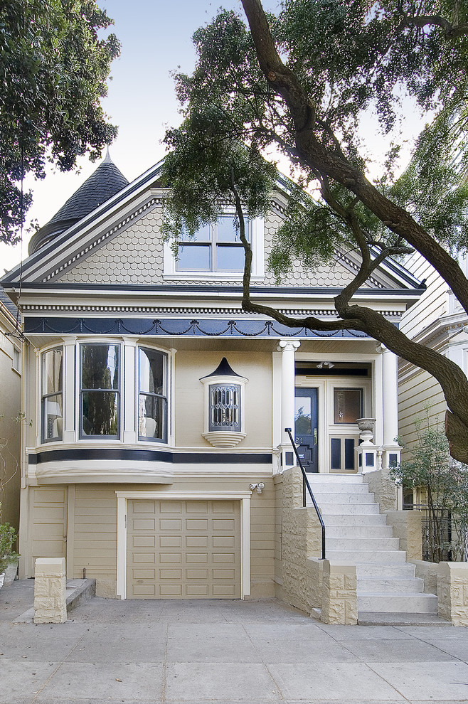 Example of a small ornate two-story exterior home design in San Francisco
