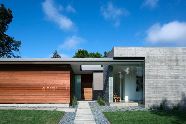 Front facade modern exterior other metro by modern for Modern single story homes
