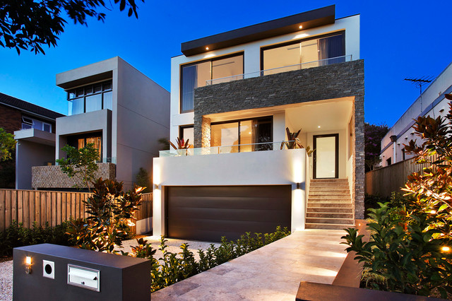outside garage wall ideas - Front Facade Contemporary Exterior sydney by