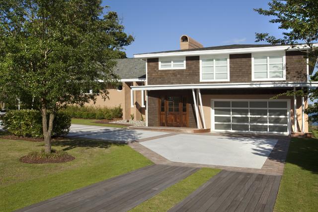 Front IPE driveway midcentury-exterior