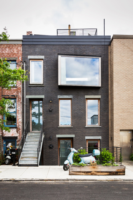 Front Of House With Modern Bay Window Industrial Exterior New York By Ardesign