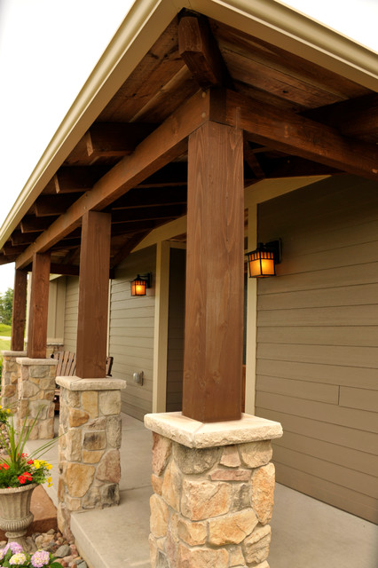 Front porch with timber columns traditional exterior for Front porch pillars design