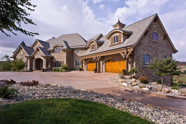 Front View Of French Country New Home Traditional Exterior