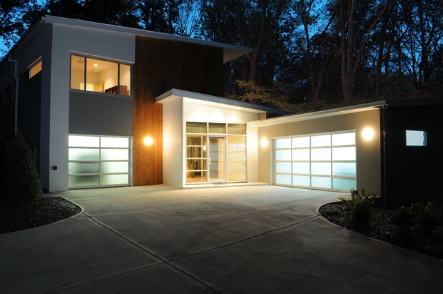 Front view of new residence in Doraville contemporary-exterior