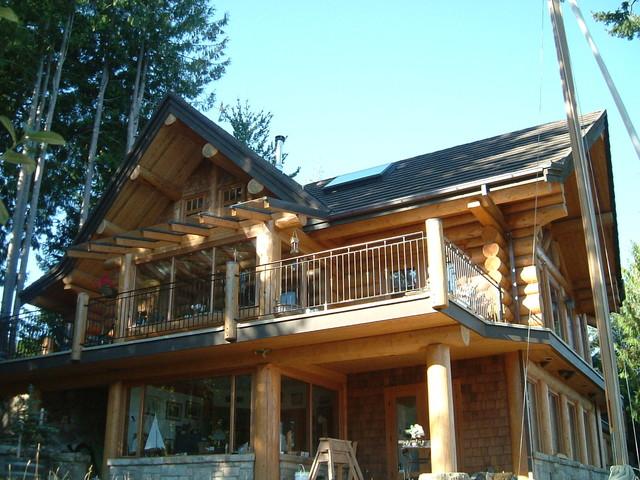 Full scribe log home exteriors for Craftsman log homes
