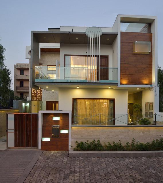 90 Incredible Modern Farmhouse Exterior Design Ideas 12: GAJENDRA YADAV'S RESIDENCE