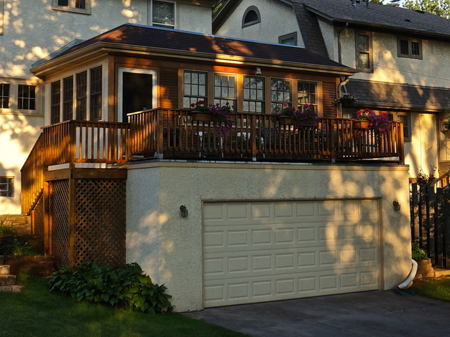 Garage Addition With 3 Season Porch Traditional