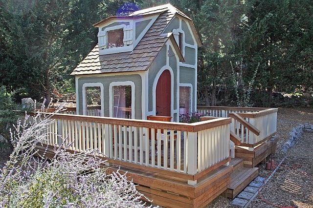 Garden Playhouse deck being constructed, Woodside,CA traditional-exterior