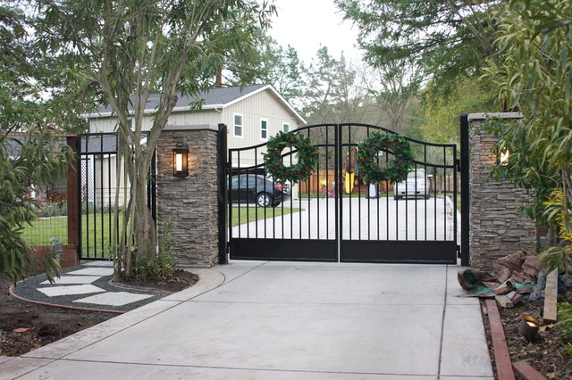 Gate With Stacked Stone Pillars Contemporary Exterior
