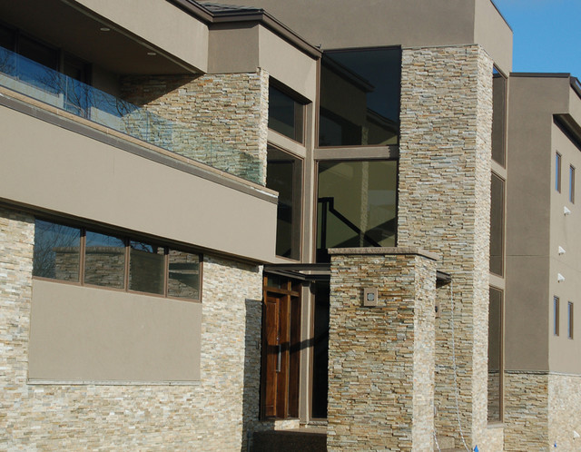 Geometric Stone Home Modern Exterior Cleveland By