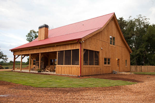 Georgia barn home traditional exterior other by for Post and beam shop plans