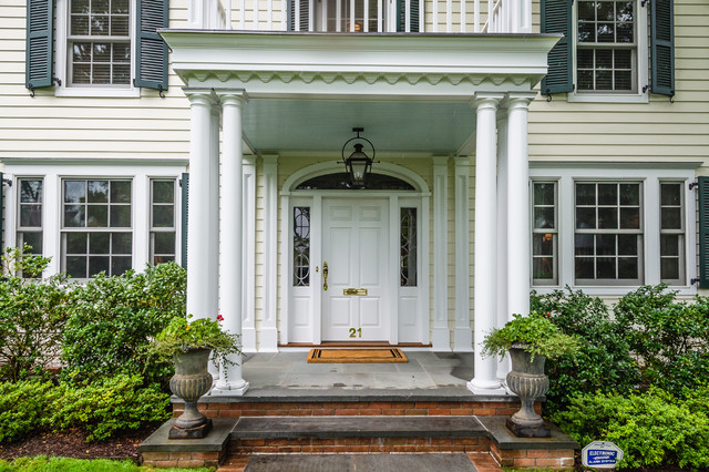 Georgian colonial front entry traditional exterior Labor cost to install exterior shutters