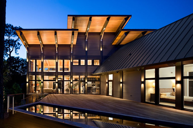 Glass House On The Pond Contemporary Exterior
