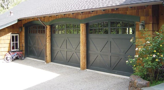 Gorgeous wood carriage style garage door farmhouse for Farmhouse garage doors