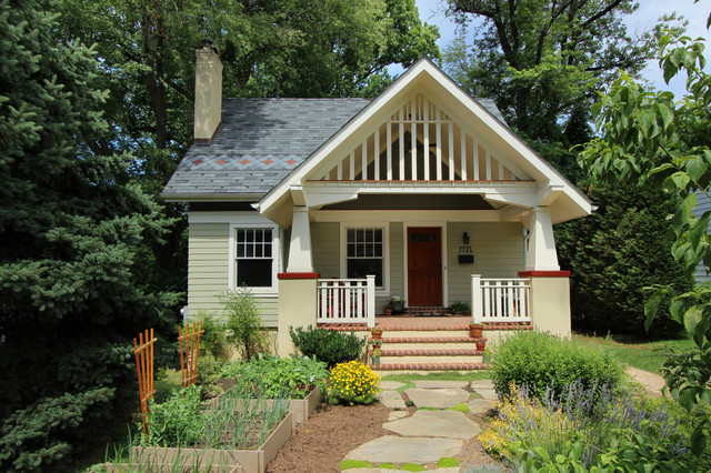 Small Craftsman Green Two Story Wood Gable Roof Idea In DC Metro