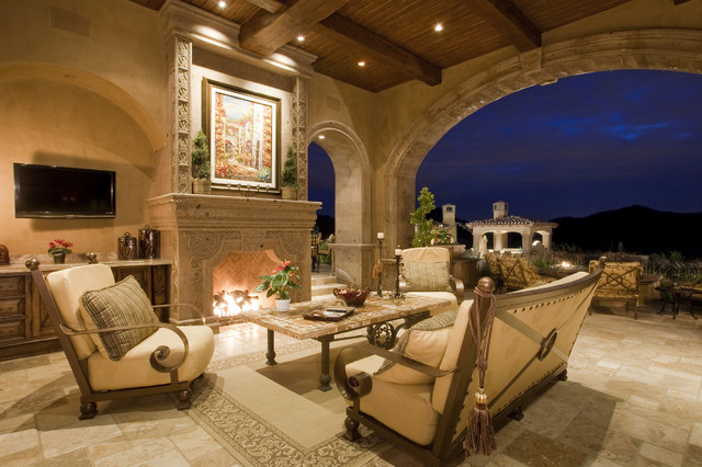 Fireplace in Multi-Million Dollar Home Designed by Fratantoni Luxury Estates mediterranean exterior