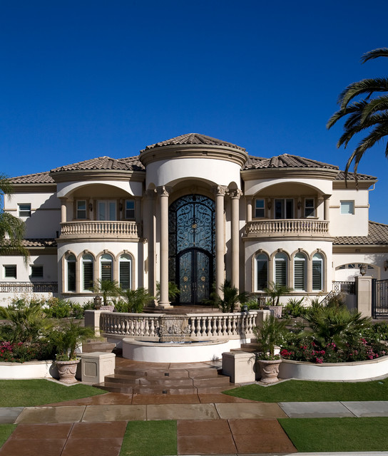 Grand mediterranean estate mediterranean exterior for Mediterranean house plans with photos