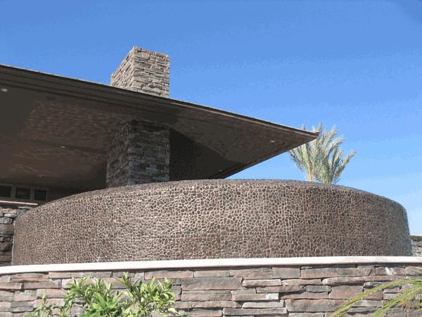 Gray Pebble Tile Wall modern-exterior