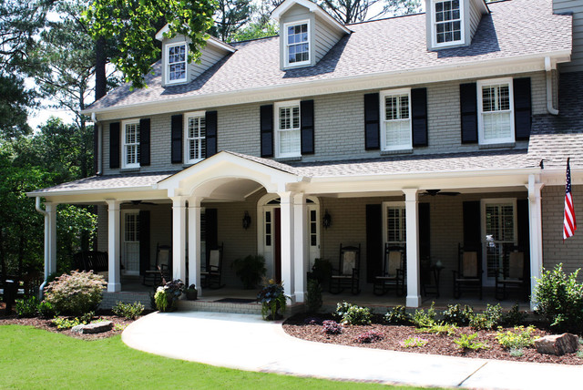 Inspiration For A Large Timeless Gray Three Story Wood Exterior Home Remodel In Atlanta