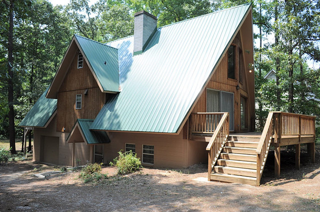 Green Metal Roof On A frame Home Traditional Exterior