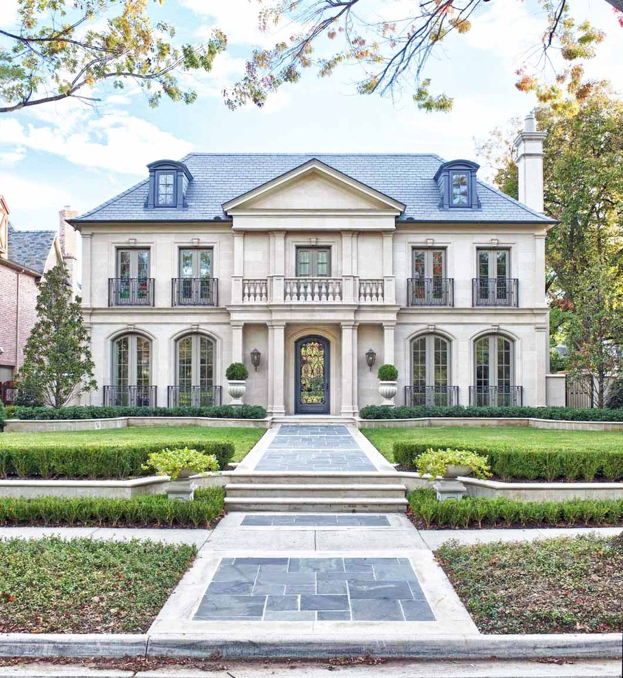 Inspiration for a country three-story exterior home remodel in Dallas