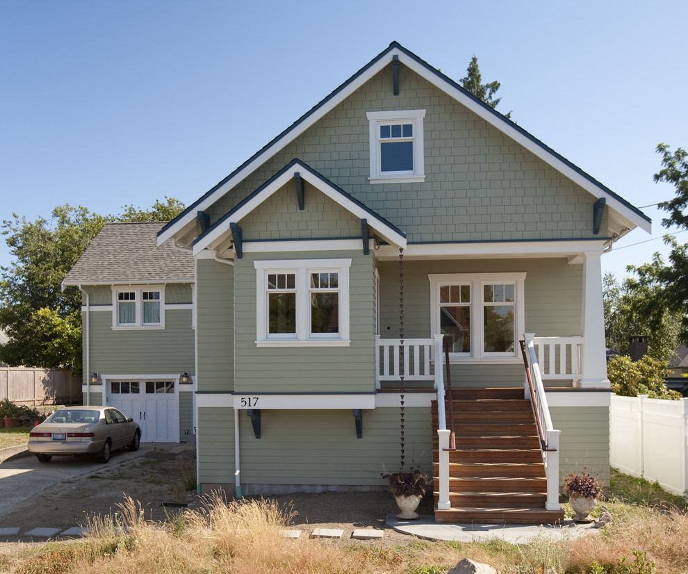 Inspiration for a craftsman one-story wood exterior home remodel in Seattle